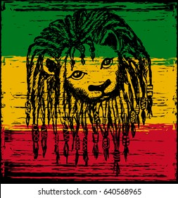 A Lion head with dreadlocks. vector illustration. Rastafarian subculture, image on background Flag colors of Jamaica.
