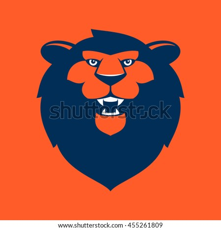 0bb8876451 Lion head flat vector logo. Animal design for sport team branding