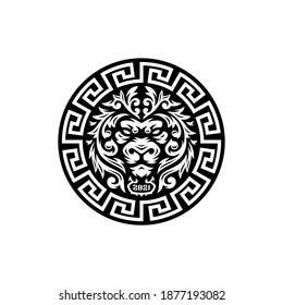 Lion head with floral tribal logo badge with azteca circular.