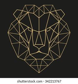 Lion head geometric lines silhouette isolated on black background vintage vector design element illustration