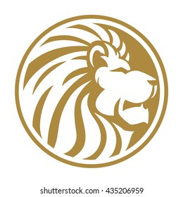Lion head gold circle