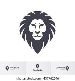 Lion Head for Heraldic or Mascot Design. Illustration on White Background