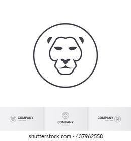 Lion Head for Heraldic or Mascot Design. Premium Template on White Background