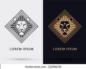 Lion head icon, symbol, logo, Vector.