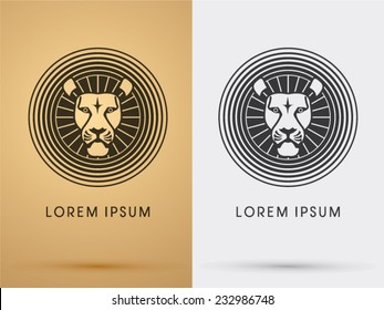 Lion head icon, symbol, logo, Vector. On gold background
