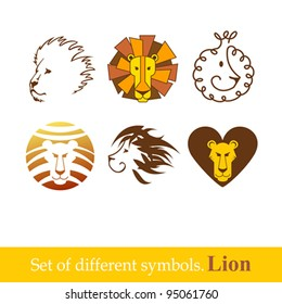 Lion head icons. Vector illustration.