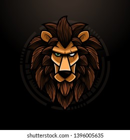 Lion Head Illustration With One Eye Hurt