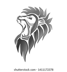 Lion head isolated on white. Roaring lion.Vector illustration.