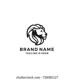 lion head king logo template vector icon illustration