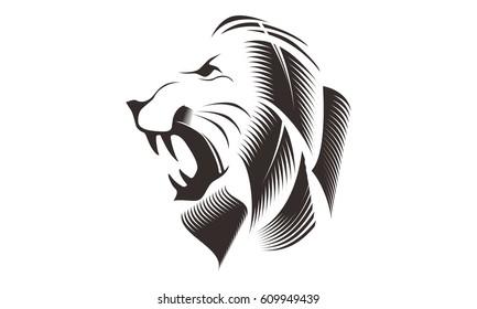 Line Drawing Lion Head : Lion tribal vector art thinkstock