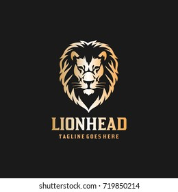 Lion Head Logo - Black Background Lion Vector