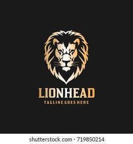 Lion Head Logo - Black Background Lion Vector