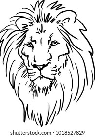 A Lion head logo in black and white. This is vector illustration ideal for a mascot and tattoo or T-shirt graphic