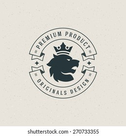 Lion head logo with crown emblem and typographic design design elements vector illustration. Modern retro for logotype, label or badge and other design.