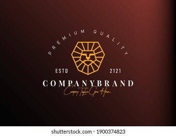 Lion head logo design inspiration. Vector illustration of abstract lion head with heptagon shape. Modern vintage icon design template with line art style.