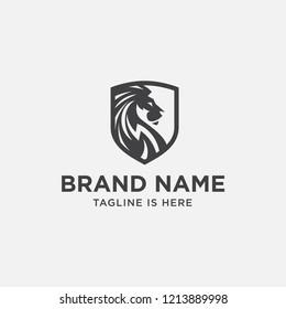 lion head logo design. lion king. lion face. elegant icon. lion shield
