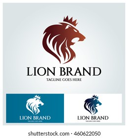 Lion Head logo design template ,Lion King logo ,vector illustration