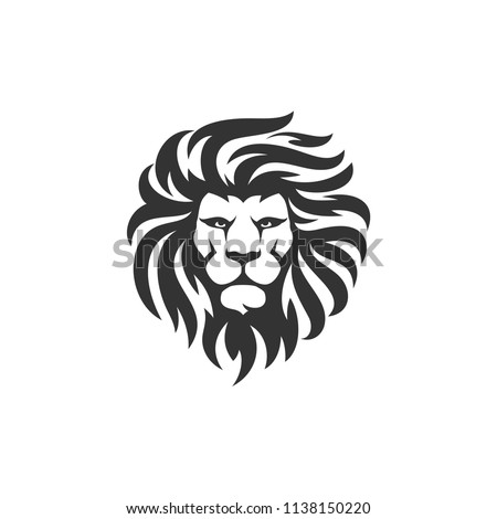 lion head logo design template stock vector royalty free