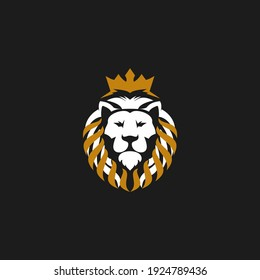 lion head logo design vector with crown,  modern symbol  with style illustration