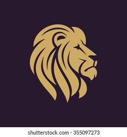 Lion head logo or icon in one color. Stock vector illustration.