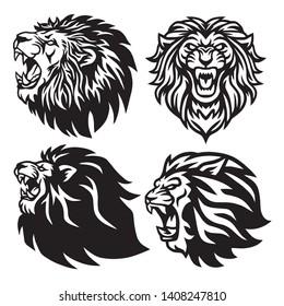 Lion Head Logo Set Collection Pack Premium Vector Design