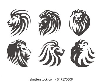 Lion head logo set - vector illustrations, emblem design on white background.