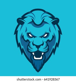 A Lion head logo. This is vector illustration ideal for a mascot and tattoo or T-shirt graphic.