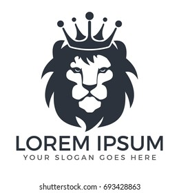 Lion head logo vector design. lion king head sign concept.