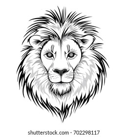 Lion Face Outline Images Stock Photos Vectors Shutterstock Sketch by pen of a lion head on a background of vector. https www shutterstock com image vector lion head logo vector illustration animal 702298117
