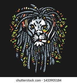 lion head marijuana illustration   -  Graphic Vector Design Tshirt - vector