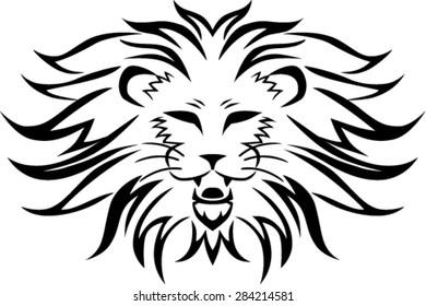 Line Drawing Lion Head : Engraved lion head door knocker hand drawn vector illustration