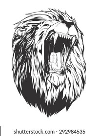 Lion head. Monochromatic logo for your t-shirt.