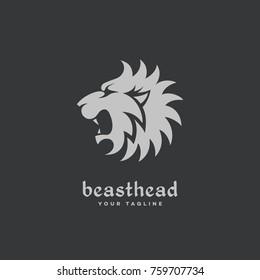 Lion head profile logo template design. Vector illustration.