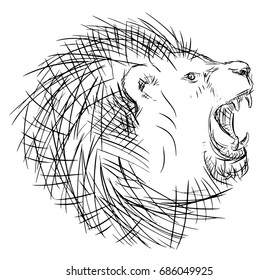 Lion head retro line art drawing