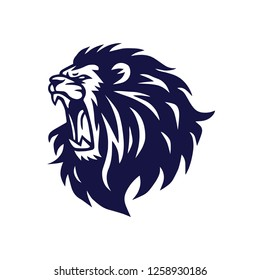 Lion Head Roaring Logo Vector Icon