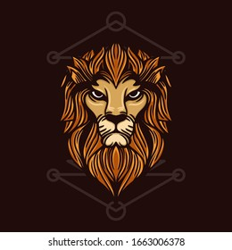 lion head with sacred geometry hand drawn illustration for t-shirt and other merchandise.