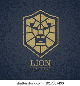 Lion head shield logo. Eps8. RGB Global colors
