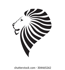 Lion head silhouette. Company logo design