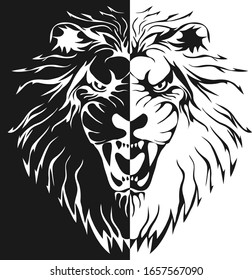 Lion head silhouette, half lion head in black tones isolated on white. Vector illustration. Vector.