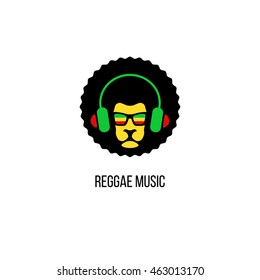Lion head in sunglasses with rastafari flag and headphones. Vector reggae music logo template isolated.