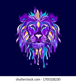 Lion head tattoo. Abstract, multi-colored portrait of a lion's head on a dark blue background in pop-art style.