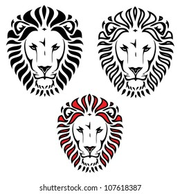 Lion head tattoo - vector illustration