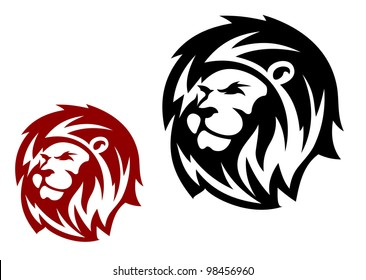 Lion head in two variations for heraldic or mascot design, such  a logo. Jpeg version also available in gallery