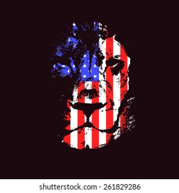 Lion head with usa flag. Hand drawn. Grunge vector illustration