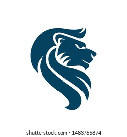 Lion Head. Vector Icon and Logo.