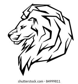 lion head vector illustration - black and white emblem