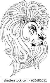 Lion head vector illustration. Design for tattoo, wall decoration, bag, pillow cover, t-shirt, book and poster.