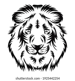 Lion head vector illustration in woodcut style, perfect for tshirt and tattoo design