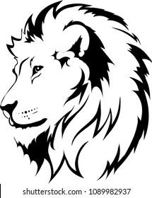 Lion head in vector interpretation