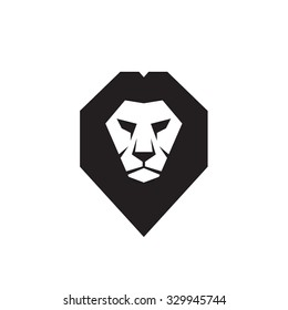 Lion head - vector logo template concept illustration. Wild cat graphic sign. Design element.
